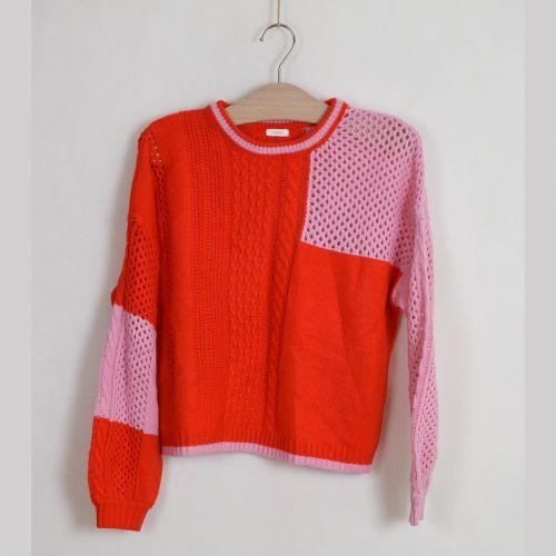 Červeno-růžový svetr Next, vel. 158